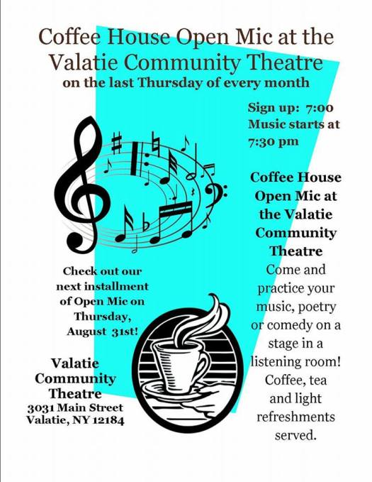 Coffeehouse Open Mic Night at the Valatie Community Theatre! Signups at 7