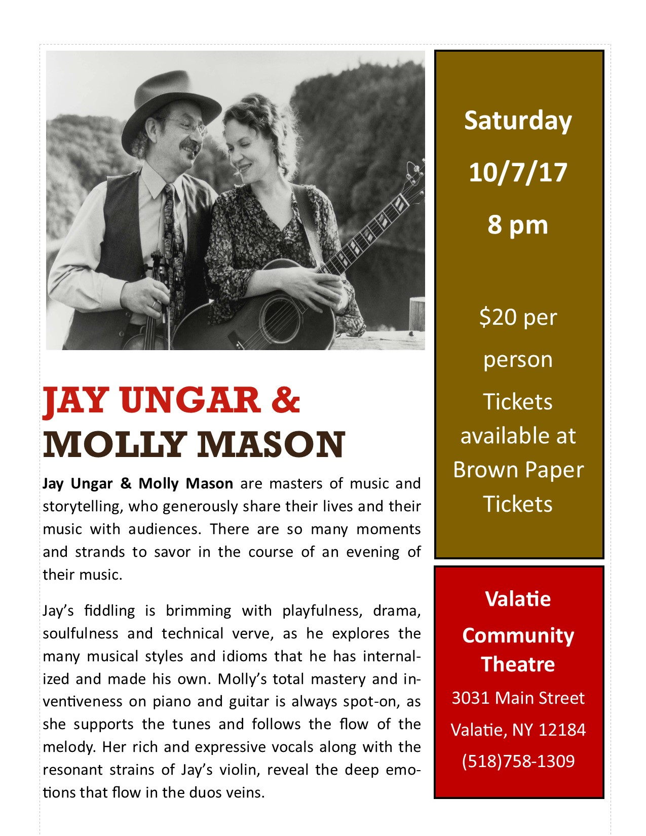 Jay Ungar and Molly Mason at the Valatie Community Theatre on October 8th, 2017